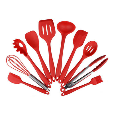 Costbuys  10 Pcs/Set Kitchen Silicone Cooking Tools Utensils Set For Spoon Spatula Ladle Egg Beaters Nonstick Gadgets - Red
