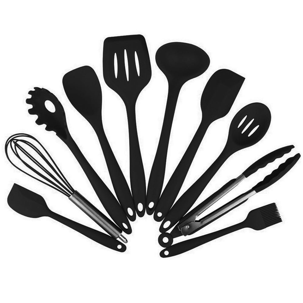 Costbuys  10 Pcs/Set Silicone Kitchen Utensils Set Non-Stick Silicone Tong Spoon Spatula Pasta Server Whisk Ladle Strainer Black