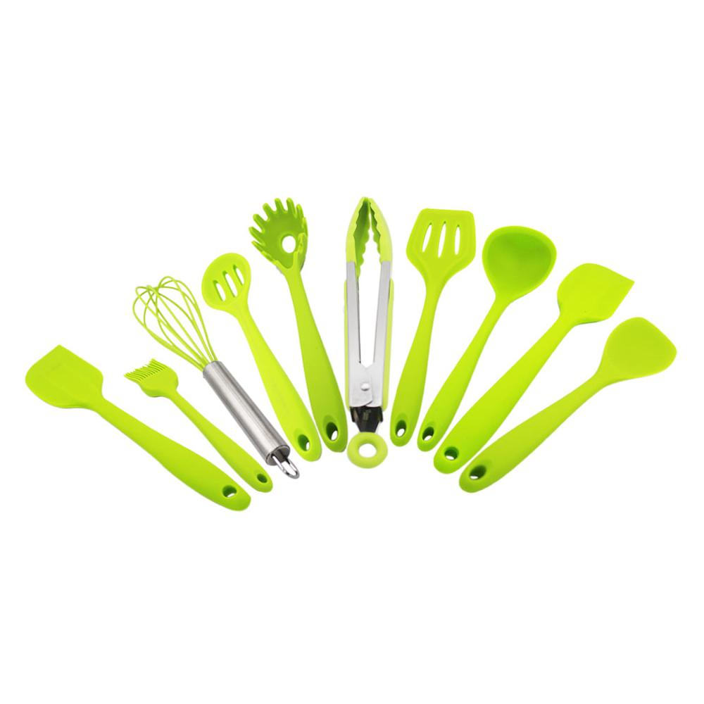 Costbuys  10 Piece a Set Silicone Kitchen Tools Gadget Set Non Stick Cooking Tool Set Shovel Brush Spade Whisk Turner Spoon Scra