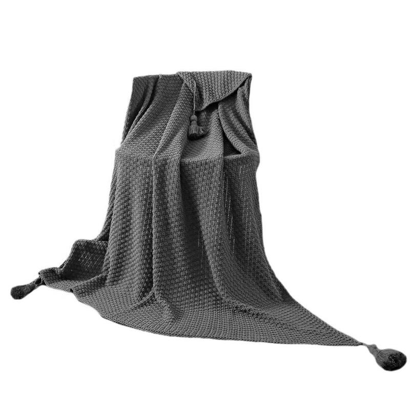 Costbuys  100% Cotton Knitted Blanket Solid Throw Blanket on the Bed Adult Blanket 130x170cm Spring Autumn Handmade Sofa Blanket