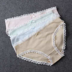 100% Cotton Panties Women Lace trim Woman Underwear Good elasticity Ladies Briefs hipster Cute Girls Underpants Slip