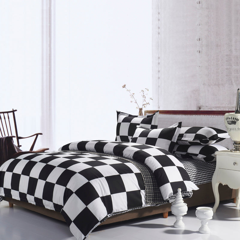 Costbuys  100% Polyester Black and White Solid Color Flat Sheet and Duvet Cover and Pillowcases Bedding Set Twin Queen King Bed
