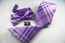 100% Silk 8 Cm Classic Men Neck Tie Set Handkerchief Bow Tie Cufflinks Sets for Business Party 4pcs Purple Striped Men Tie