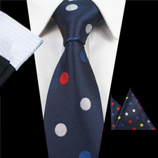 100% Silk Fashion Men's Tie Set Ties Handkerchief Solid Polka Dot Colorful Dot Wedding Party Pocket Square Neck Tie Hanky