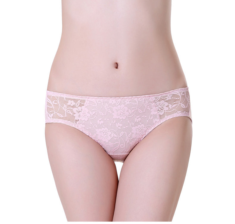 100% pure REAL SILK basic women PANTIES high quality pink Lace Sexy ladies lingerie calcinha briefs underwear