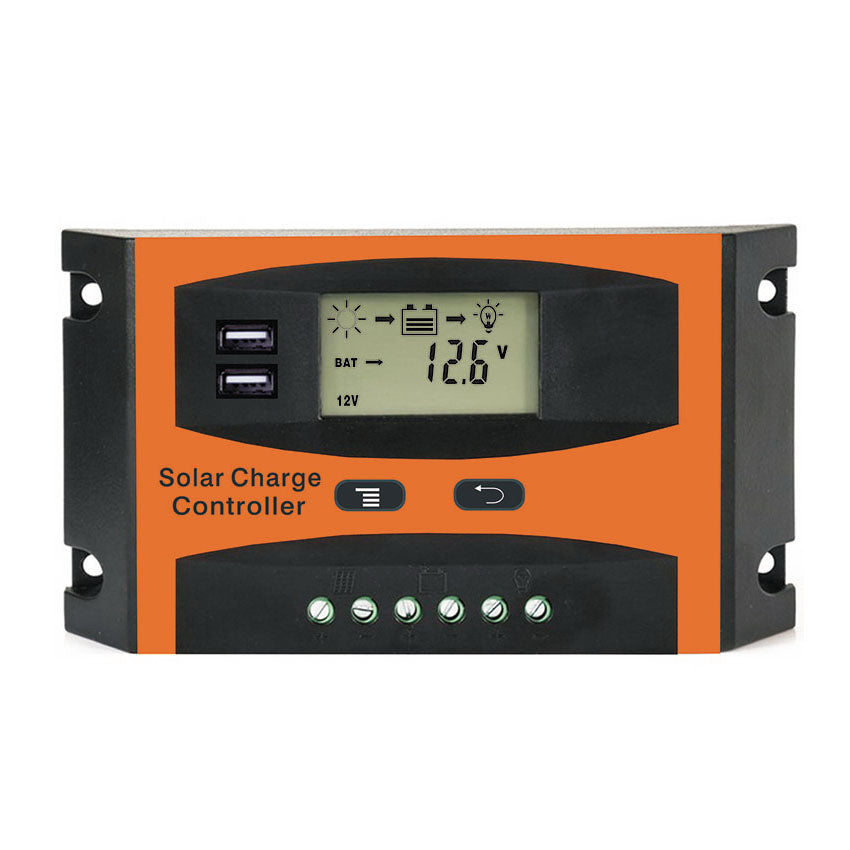 Costbuys  10A 20A 30A PWM 12V 24V Solar Controller LCD Function Dual USB 5VDC Output Solar cells Panel Battery Charge Regulator