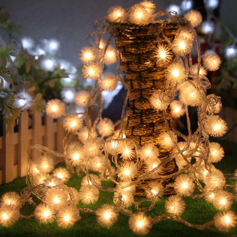 Costbuys  10M/20M/30M/50M Novelty Outdoor lighting LED cotton Ball string fairy lights lamps for Christmas wedding garden pendan