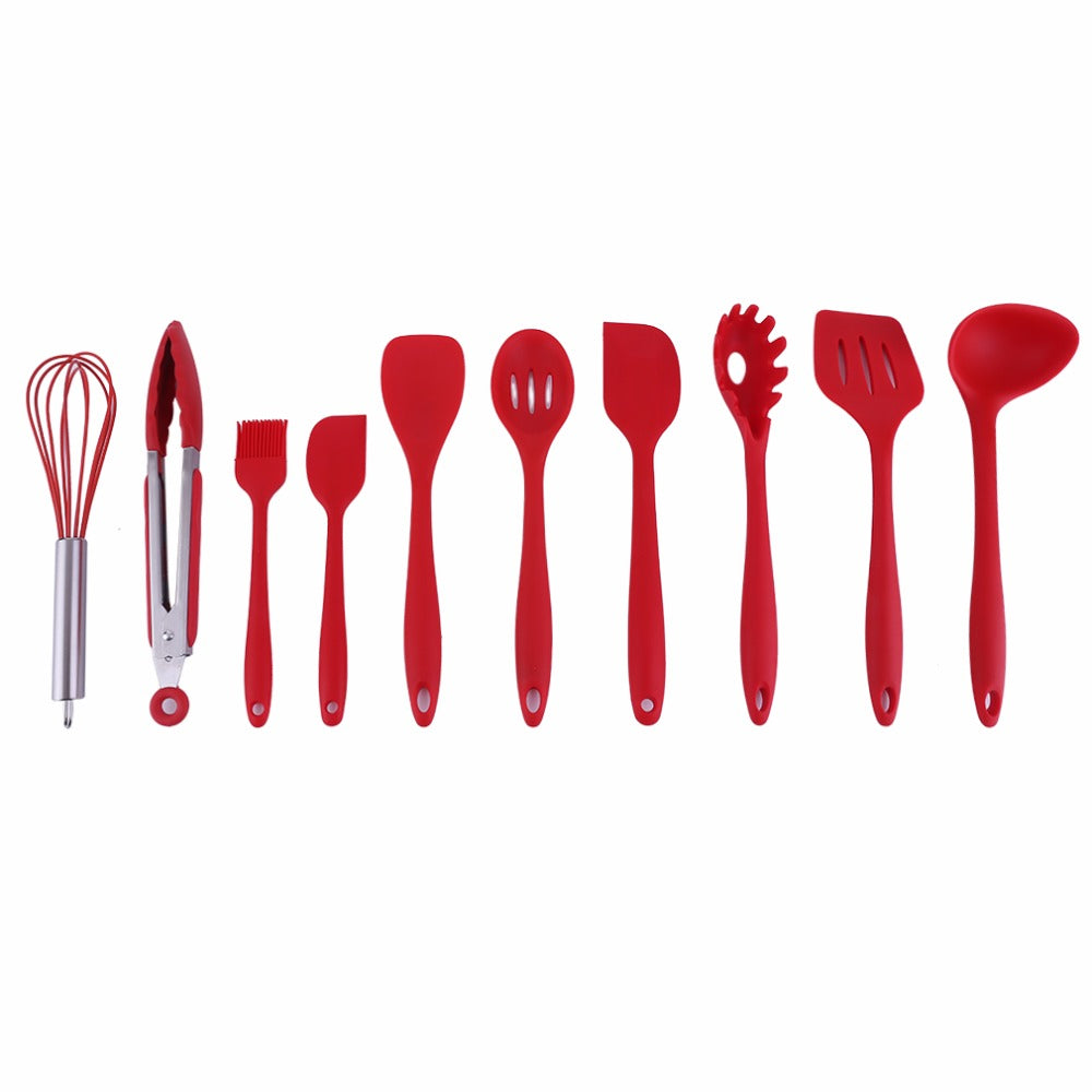 Costbuys  10Pcs/Set Household Kitchen Silicone Cooking Utensil Set High Temperature Resistant Kitchen Tool Set Cooking Tools - C