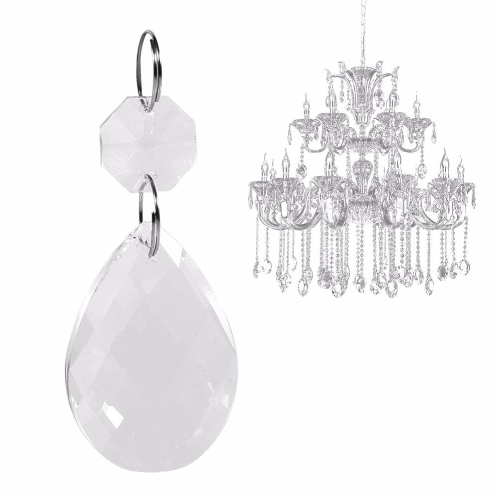 Costbuys  10Pcs Transparent K9 Crystal Glass Clear Glass Crystal Prisms Chandelier Pendant Light Lamp Part Drops DIY Accessories