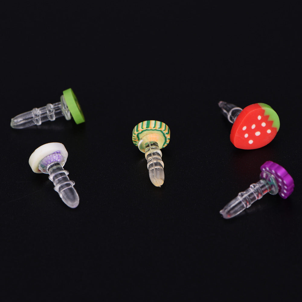 Costbuys  10pcs multistyle Fruit Phone Anti Dust Plug Cell Phone Accessories For Iphone For Huawei iPhone Normal 3.5mm Earphone