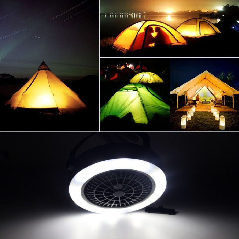 Costbuys  12 LED Rechargeable/AA Battery Power Outdoor Camping Portable LED Fan Light Hanging Emergency Tent Lamp With Hook - Us
