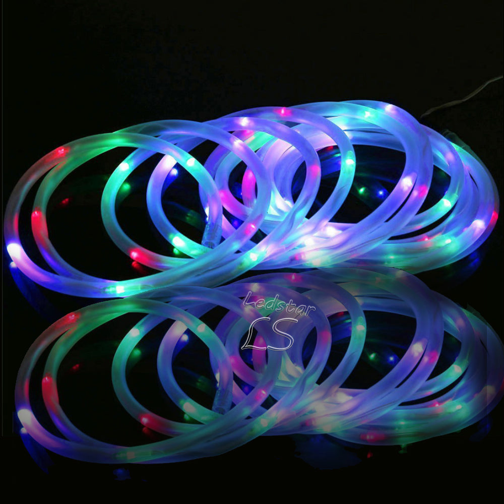 Costbuys  12M 100leds Solar LED String Lights Outdoor 4 Colors Rope Tube Led String Solar Powered Fairy Lights for Garden Fence