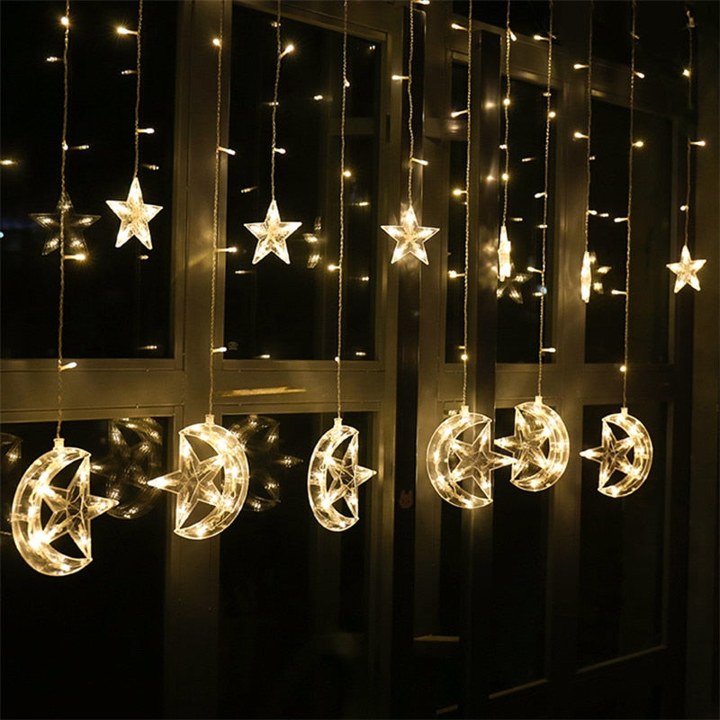 138 Leds 2.5M Star Moon Led Curtain Light Garland Holiday Lighting Fairy Wedding Christmas Indoor Home Decoration 110V/220V
