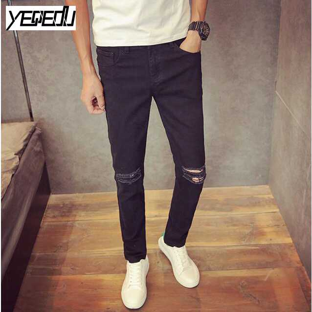 Costbuys  Thin Slim Distressed jeans Fashion White/Black Ripped jeans for men Ankle-hole jeans masculino Mens jogger - Black / 2