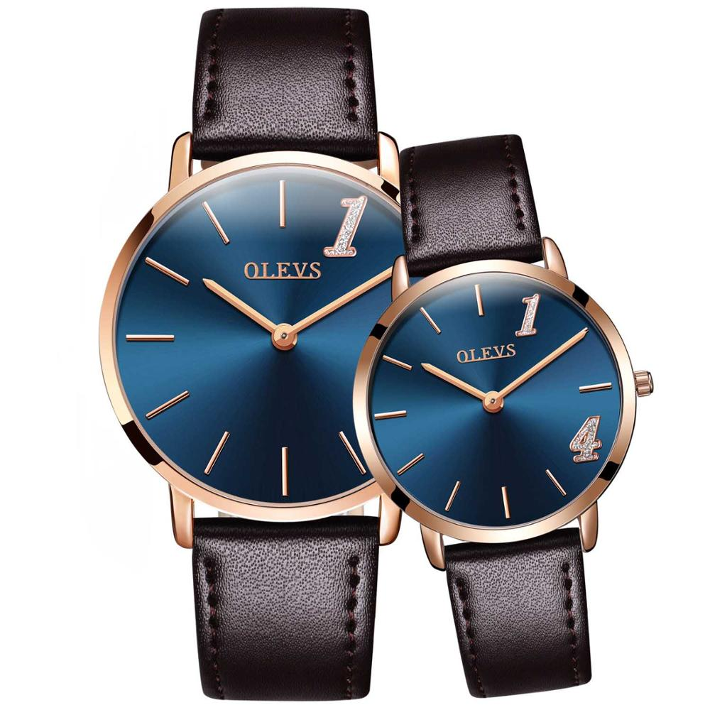 Costbuys  Lovers Watch Women Men Wristwatch Ultra thin Dial Design Quartz Leather Waterproof Watches For Women Romantic Gifts -