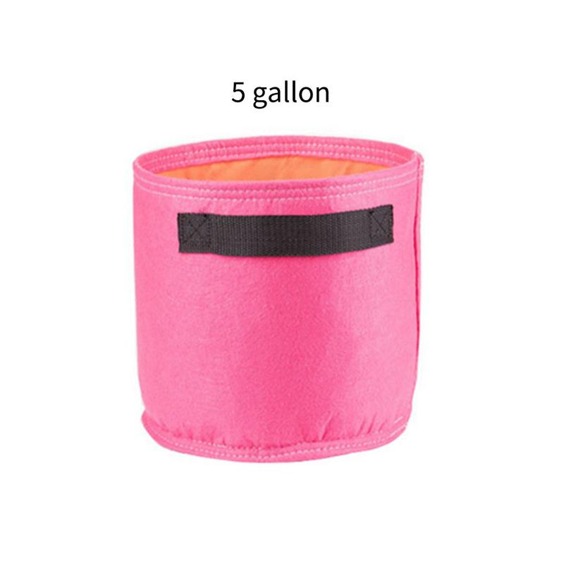 Costbuys  Garden Supplies Colourful Planting Pot Plant Pouch Root Container Grow Bag Tool - 5 gallon pink