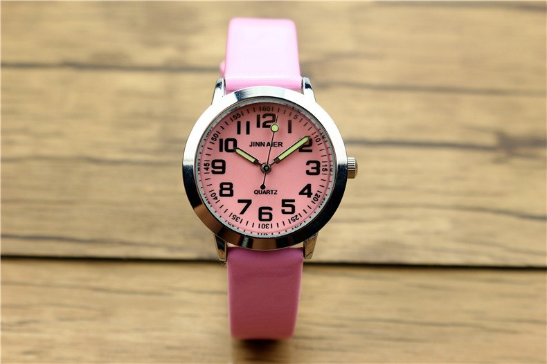 Costbuys  Children lovely 7 colors dial leather watch little boys and girls luminous hands gift clock - Pink