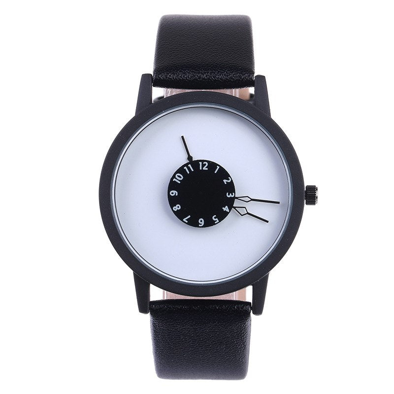 Costbuys  Creative Casual Men Women Watches Luxury Sport Watch student Leather Band Analog Quartz Wrist Watch - white black