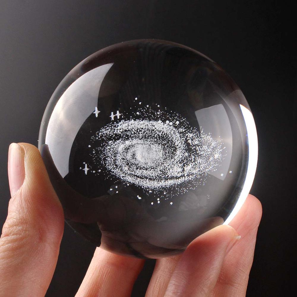 Costbuys  60mm Glass Ball 3D Laser Engraved galaxy Crystal Ball Globe Home Decoration Accessories Miniatures Gifts - Only ball