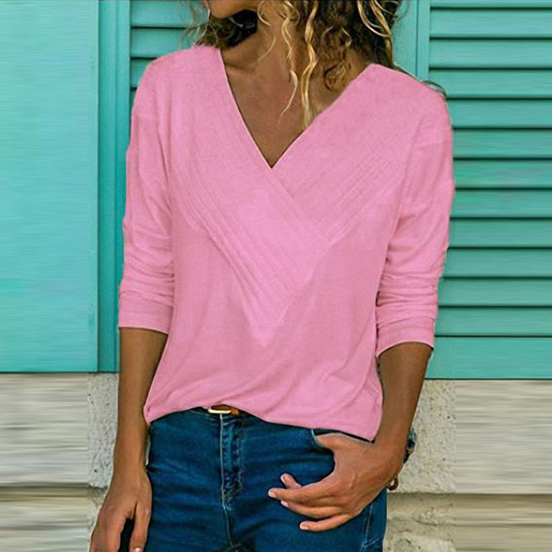 Costbuys  Autumn Winter Long Sleeve Pleated Blouse Women Shirts Casual Solid V-neck Shirt Plus Size Women Blouses Top - Pink / S