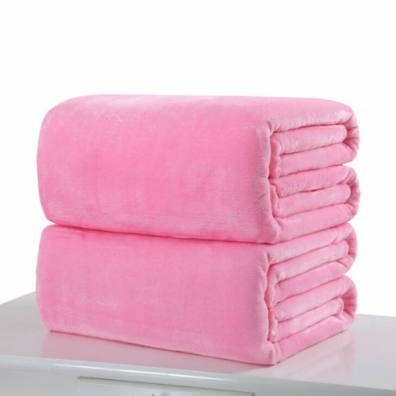 Costbuys  Small Super Warm Solid Warm Micro Plush Fleece Blanket Throw Rug Sofa Bedding - Pink