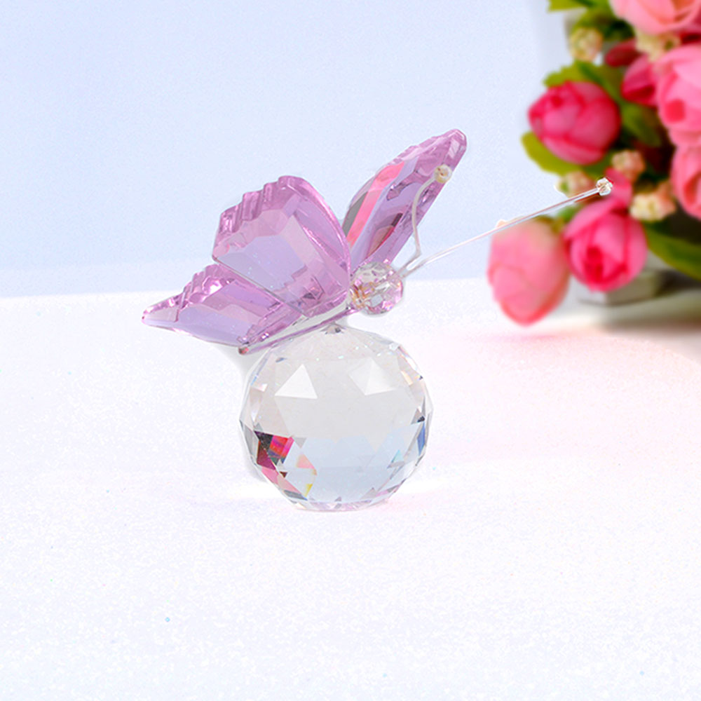 Costbuys  Butterfly Glass Animal Craft Wedding Gifts For Guests Home Decoration Accessories - Pink