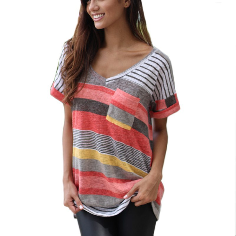 Costbuys  Fashion Short Sleeve O-Neck T-Shirt Women Tops Tee Shirt Femme Pocket Striped Shirt Plus Size Women Clothes 2017 - R /