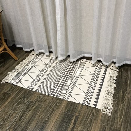 Costbuys  Simple Area Rugs Cotton Carpets With Tassels For Living Room Bedroom Home Carpet Kids Room Decor Floor Mat Door Rug -