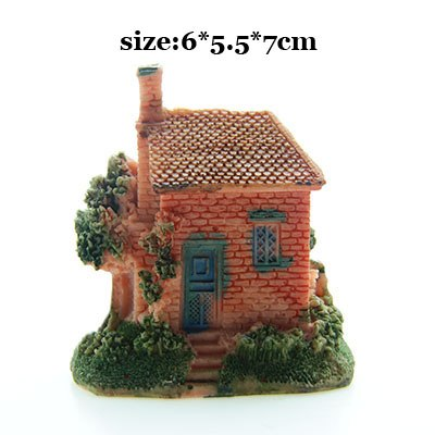 Costbuys  Artificial Mini Micro House Resin Crafts Fairy Garden Decoration Home Garden Decoration Accessories - 01 / 6x5x7cm