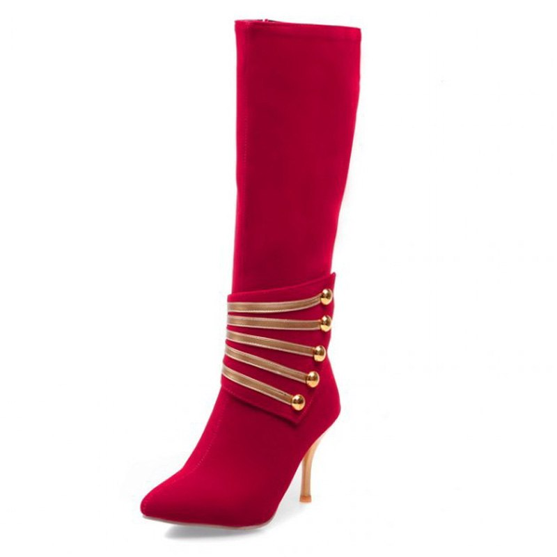 Costbuys  Autumn Winter Women Knee High Boots High Heels Metal Decoration Pointed Toe Sexy Ladies Boots Woman Shoes Big size 34-