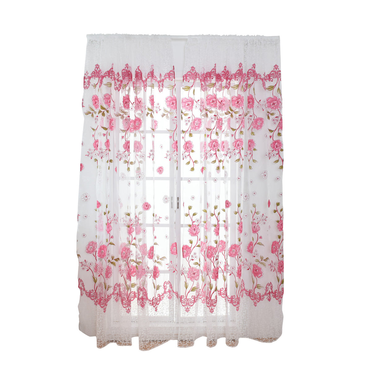 Costbuys  Sheer Floral Curtains Home Decor Window Treatments Modern Curtain Pour Le Salon Window - Red