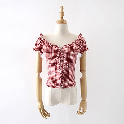 Costbuys  Summer Plaid Tops And Blouse Ruffles Lace Up Square Neck White Shirt Women Puff Sleeve Casual Blouse - Red / S