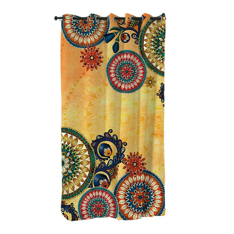 Costbuys  Living Room Curtains Bohemian Curtain for Bedroom Ethnic Mandala Flowers Window Treatment Drapes - B (1 Pc) / 132x213c
