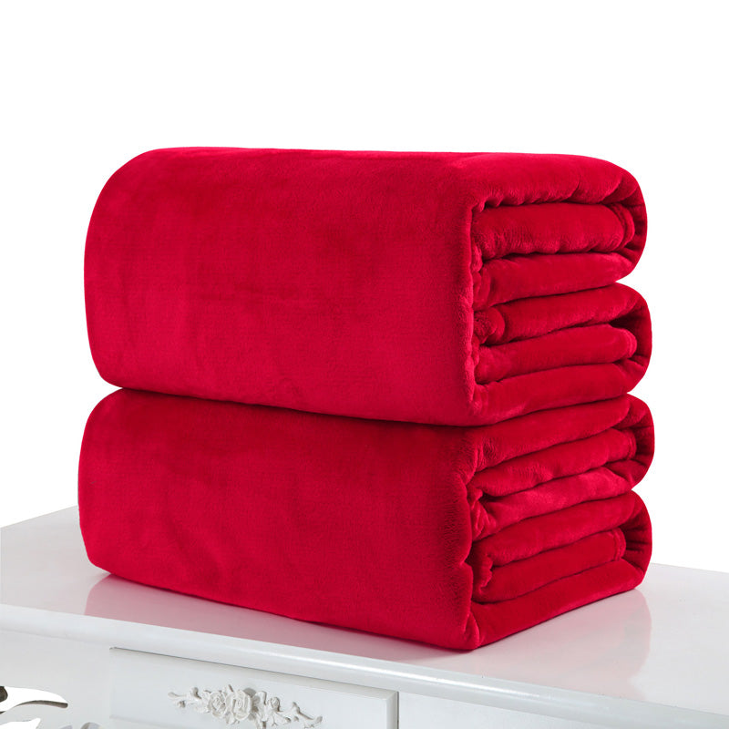 Costbuys  50*70cm Warm Blanket Small Super Soft Blanket Warm Solid Plush Fleece Quilt Throw Rug for Sofa Bedding Home Office - R