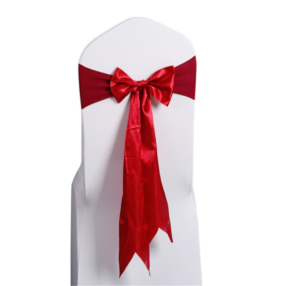 Costbuys  10pcs/Champagne Wedding Decoration Chair Satin Sashes Colorful Satin Chair Sashes Bow Tie for Hotel Banquet Chair - Wi