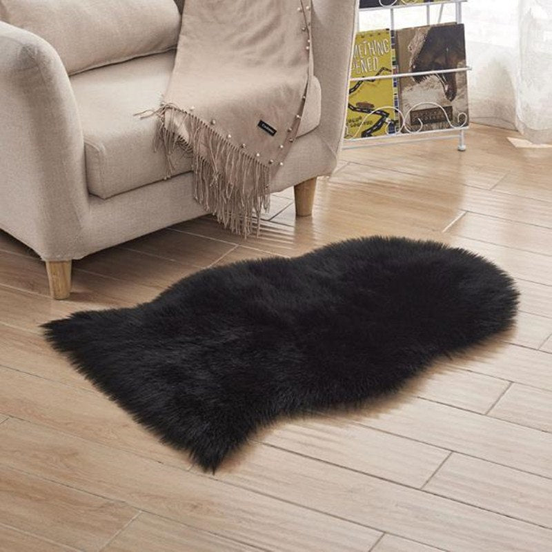 Costbuys  Artificial Wool Soft Home Carpet Sheepskin Chair Cover Rugs Plain Fluffy Rugs Bedroom Blanket Mat For Kids Living Room