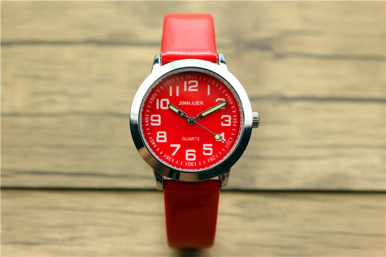 Costbuys  Children lovely 7 colors dial leather watch little boys and girls luminous hands gift clock - Red