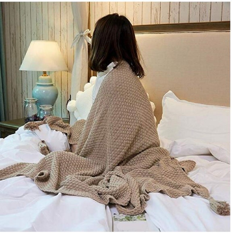 Costbuys  100% Cotton Knitted Throws and Blankets for Sofa Couch Bed Multiple Used Special Tassels Blanket Lightweight 51