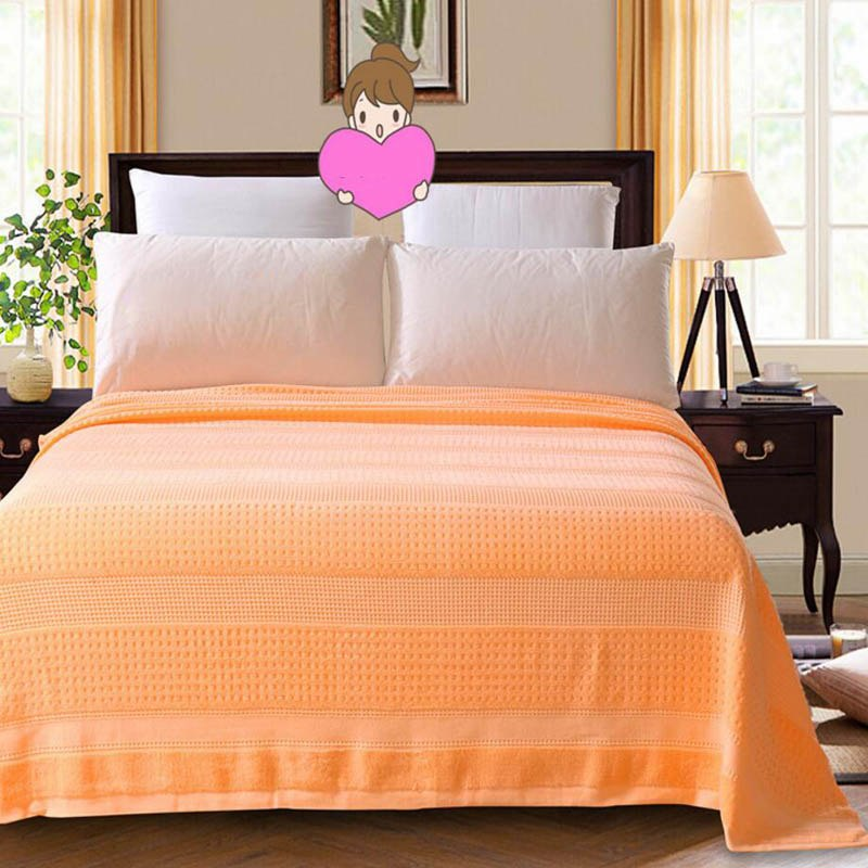 Costbuys  100% Cotton Adult Towel Blanket Bed Summer Quilts Bedspread Sofa Throws Office Travel Sleeping Air Conditioning - oran