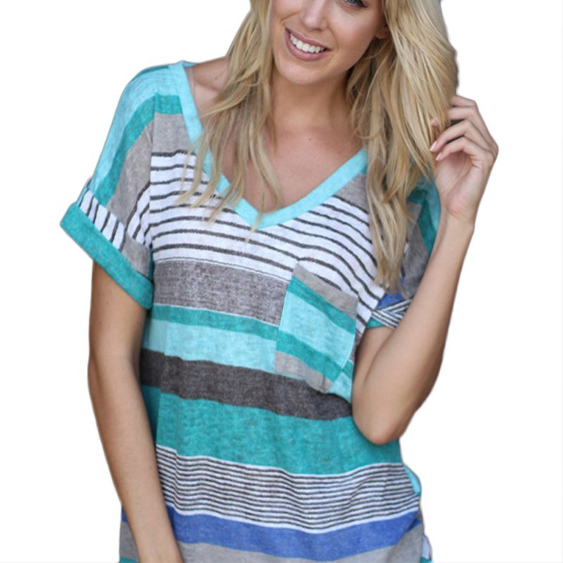 Costbuys  Fashion Short Sleeve O-Neck T-Shirt Women Tops Tee Shirt Femme Pocket Striped Shirt Plus Size Women Clothes 2017 - L /