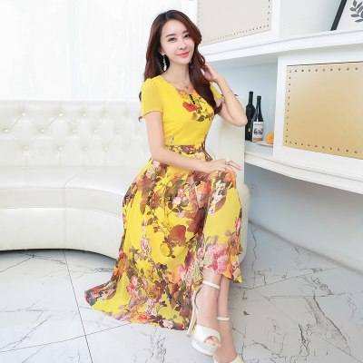 Costbuys  8 colors Summer Print Chiffon Dress Women Beach Dress Sexy Slim Plus Size Women Elegant Long Dresses - yellow / XXL