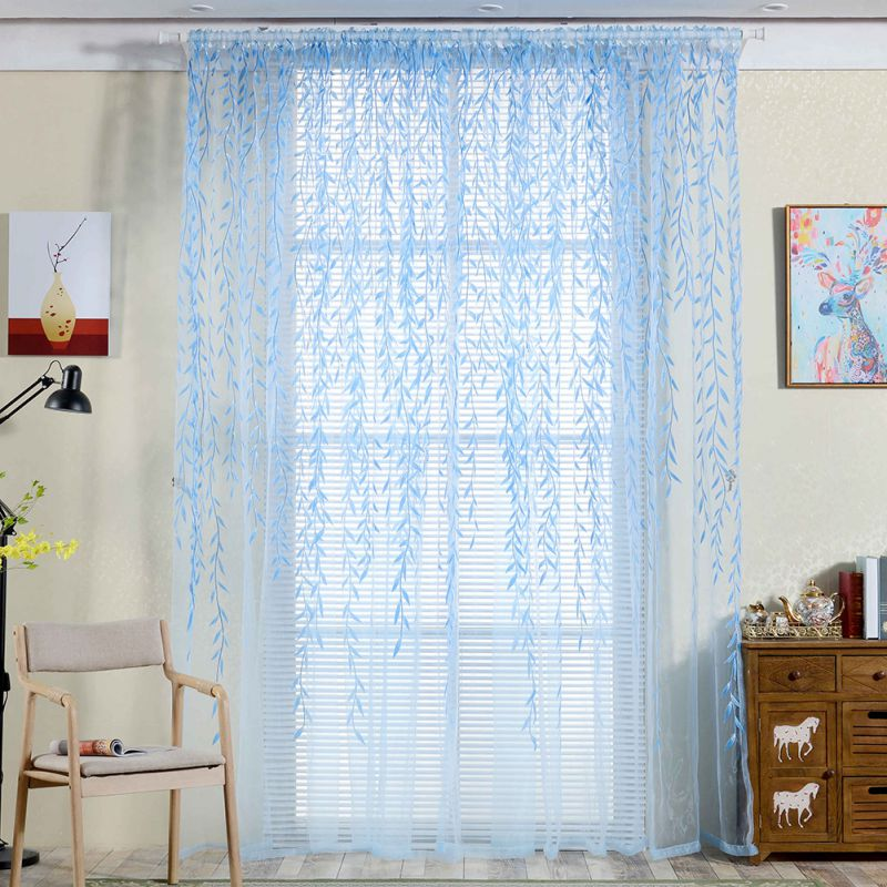 Costbuys  Tulle Room Window Curtains Sheer Panel Drapes Curtain Leaves Print Bedroom Home Textile Window Treatments - Blue / 1*2