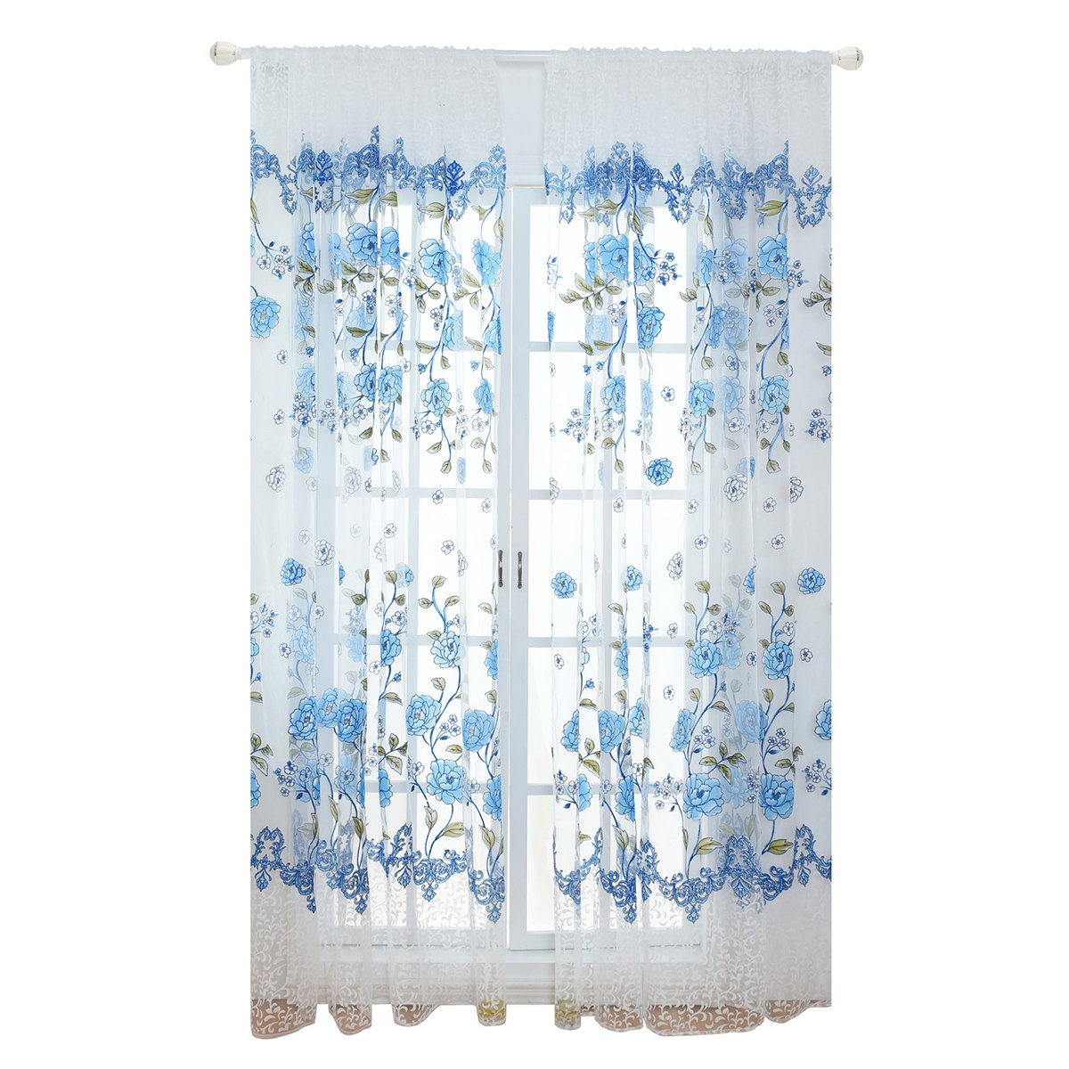 Costbuys  Sheer Floral Curtains Home Decor Window Treatments Modern Curtain Pour Le Salon Window - Blue
