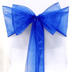 Sashes Chair Cover Bows Sash Wider Sash Fuller Bows for Wedding Party Birthday Decoration (blue)