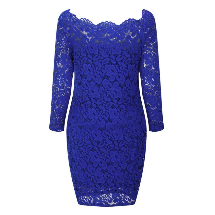 Costbuys  Women Vintage Off Shoulder Lace Modal Sexy Evening Party Dress Long Sleeve Boat Collar Dress Women party modern Dress