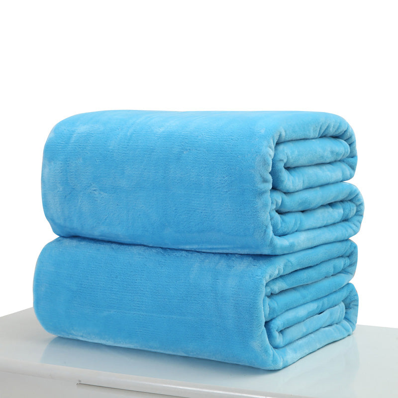 Costbuys  50*70cm Warm Blanket Small Super Soft Blanket Warm Solid Plush Fleece Quilt Throw Rug for Sofa Bedding Home Office - B