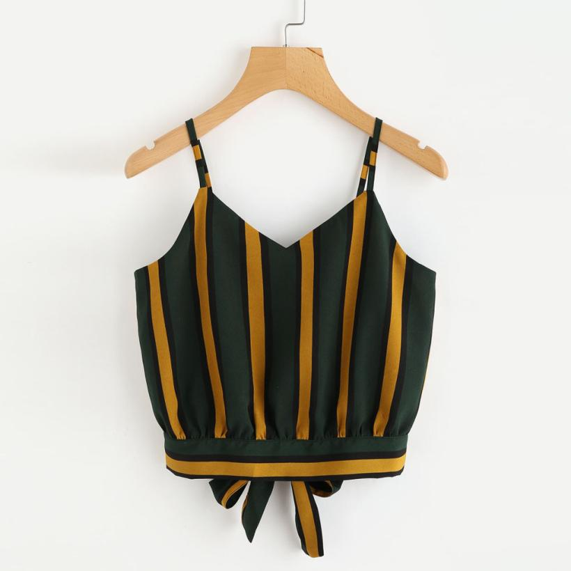 Costbuys  Women's Crop Tops Blouse Casual V Neck Striped Blouse Button Tie Front Crop Tops Shirt Vest - Green / S