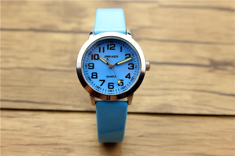 Costbuys  Children lovely 7 colors dial leather watch little boys and girls luminous hands gift clock - Sky blue
