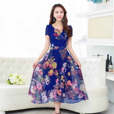 Costbuys  8 colors Summer Print Chiffon Dress Women Beach Dress Sexy Slim Plus Size Women Elegant Long Dresses - blue / XL