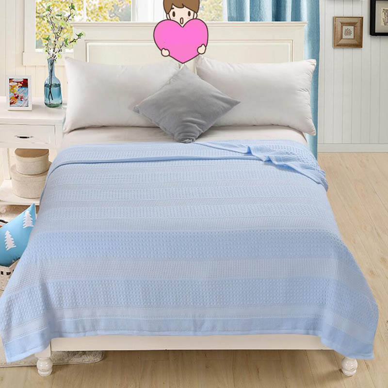 Costbuys  100% Cotton Adult Towel Blanket Bed Summer Quilts Bedspread Sofa Throws Office Travel Sleeping Air Conditioning - blue